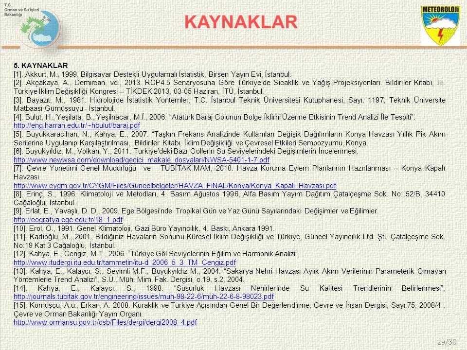 KAYNAKLAR 5. KAYNAKLAR. [1]. Akkurt, M., 1999. Bilgisayar Destekli Uygulamalı İstatistik, Birsen Yayın Evi, İstanbul.